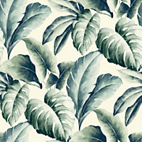 Gold Green Palm leaf Embossed Wallpaper