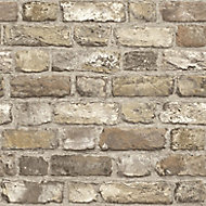 Grandeco Country brick Neutral Faux wall Embossed Wallpaper