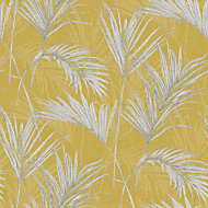 Grandeco Palm springs Grey & yellow Leaf Metallic effect Wallpaper