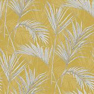 Grandeco Palm springs Grey & yellow Leaf Metallic effect Embossed Wallpaper