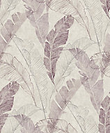 Grandeco Capri Burgundy & taupe Leaf Matt Wallpaper