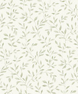 Grandeco Nerine Sage green Leaf Matt Wallpaper