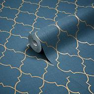 Grandeco Deco trellis Navy Geometric Metallic effect Wallpaper