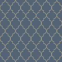 Grandeco Deco trellis Navy Geometric Metallic effect Embossed Wallpaper