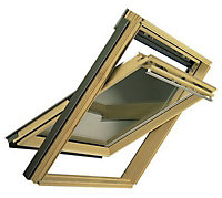 VELUX Nordic pine Centre pivot Roof window (H)780mm (W)550mm