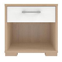 Form Evie White Oak effect Matt & high gloss 1 Drawer Bedside chest (H)393mm (W)402mm (D)342mm