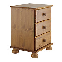 Malmo Pine effect Stained 3 drawer bedside chest (H)581mm (W)441mm (D)383mm