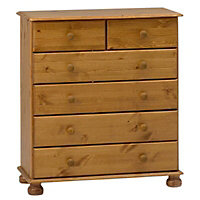 Malmo Stained Pine effect 6 Drawer Chest (H)901mm (W)823mm (D)383mm