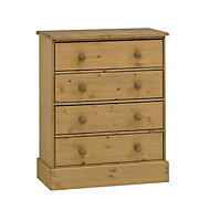 Compton Waxed Pine effect 4 Drawer Chest of drawers (H)931mm (W)755mm (D)400mm