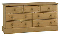 Compton Waxed Pine effect 7 Drawer Chest (H)739mm (W)1459mm (D)400mm