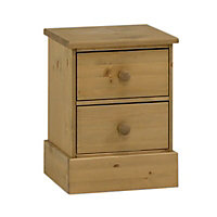 Compton Pine effect 2 Drawer Bedside chest (H)547mm (W)415mm (D)400mm