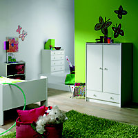Wizard Off white 1 Drawer Double Wardrobe (H)1232mm (W)790mm (D)536mm