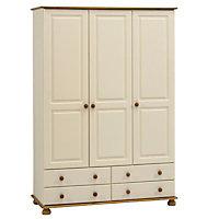 Oslo Cream Pine 4 Drawer Triple Wardrobe (H)1853mm (W)1296mm (D)570mm