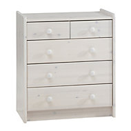 Form Wizard White 5 Drawer Chest (H)720mm (W)640mm (D)380mm