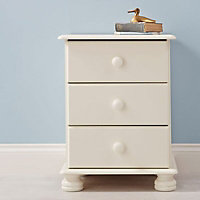 Malmo Stained White 3 Drawer Bedside chest (H)581mm (W)441mm (D)383mm