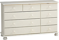 Malmo White Stained 3 over 4 drawer chest (H)741mm (W)1206mm (D)383mm