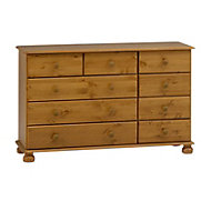 Malmo Stained 9 Drawer Chest (H)741mm (W)1206mm (D)383mm