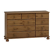 Malmo Stained Pine 9 Drawer Chest (H)741mm (W)1206mm (D)383mm