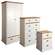 Hemsworth Cream & Oak effect 3 piece bedroom furniture set