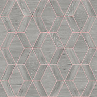 Rasch Geo Grey Wooden effect Wallpaper