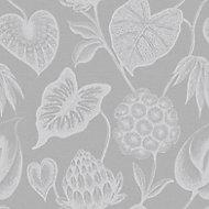 Rasch Havanna Grey & silver effect Foliage Wallpaper