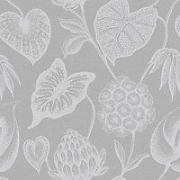 Rasch Havanna Grey Foliage Silver effect Smooth Wallpaper
