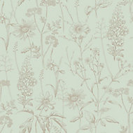 Rasch Meadow Green Floral Wallpaper