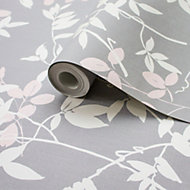 Rasch Grey Foliage Wallpaper