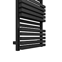 Terma Quadrus 835W Electric Metallic black Towel warmer (H)1185mm (W)450mm