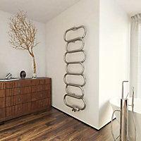 Terma Ouse 391W Galvanic brushed nickel Towel warmer (H)1437mm (W)500mm