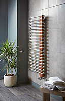 Terma Michelle 722W Nickel gloss & copper Towel warmer (H)1200mm (W)500mm