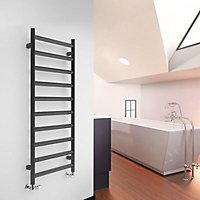 Terma Crystal 411W Electric Modern grey Towel warmer (H)1200mm (W)500mm