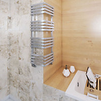 Terma Outcorner 547W Electric Chrome effect Towel warmer (H)1005mm (W)300mm