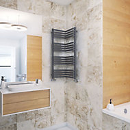 Terma Incorner 546W Modern grey Towel warmer (H)1005mm (W)350mm