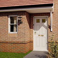 6 panel Frosted Glazed Primed White LH & RH External Front Door, (H)1981mm (W)762mm