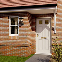 6 panel Frosted Glazed Primed White LH & RH External Front Door, (H)1981mm (W)838mm