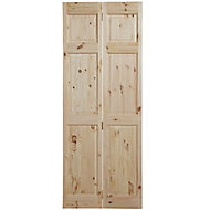6 panel Knotty pine Internal Bi-fold Door set, (H)1950mm (W)750mm