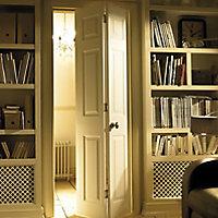 6 panel Primed White Woodgrain effect Internal Bi-fold Door set, (H)1950mm (W)826mm