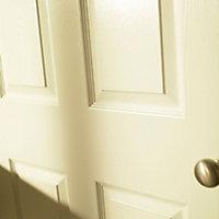 6 panel Primed White Woodgrain effect LH & RH Internal Door, (H)1981mm (W)610mm (T)35mm