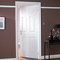 6 panel Primed White Woodgrain effect LH & RH Internal Fire Door, (H)2040mm (W)726mm