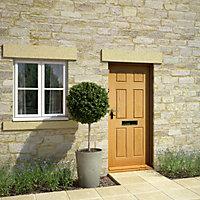 6 panel White oak veneer LH & RH External Front Door, (H)1981mm (W)838mm