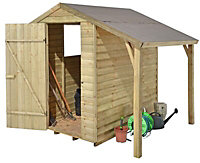 6x4 Larchlap Apex roof Overlap Wooden Shed with lean to