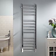 Heating Style Milton 60W Silver Towel warmer (H)1000mm (W)400mm