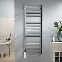 Heating Style Milton 75W Electric Silver Towel warmer (H)1000mm (W)500mm