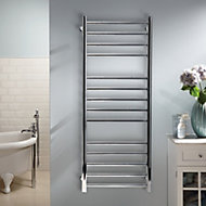 Heating Style Milton 90W Electric Silver Towel warmer (H)1000mm (W)600mm