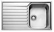 Franke Ascona Polished Stainless steel 1 Bowl Sink & drainer
