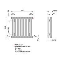 Acova 2 Column radiator, White (W)628mm (H)600mm