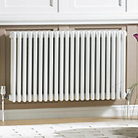 Acova 2 Column radiator, White (W)1226mm (H)600mm