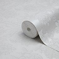 Fine Décor Verona Silver effect Floral Glitter Wallpaper