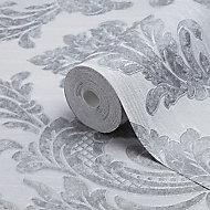 Fine Décor Verona Grey Damask Glitter effect Textured Wallpaper
